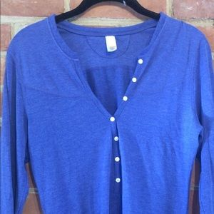 Lucy Long Sleeve Henley Size S Blue super-soft